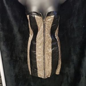 Dresses & Skirts - Leather and gold sequin mini dress size L